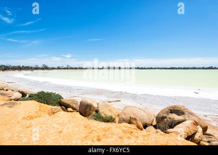 The gypsum base of this lake makes it look green. Lake Magic, Hyden, Western Australia, WA, Australia - Stock Photo