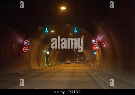 Rennsteig Tunnel or Christiane-Tunnel, A71 motorway tunnel, the longest road tunnel in Germany, Thuringia, Germany - Stock Photo