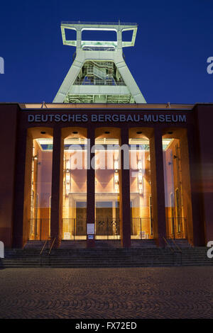 German Mining Museum in the evening, Bochum, Ruhr district, North Rhine-Westphalia, Germany - Stock Photo