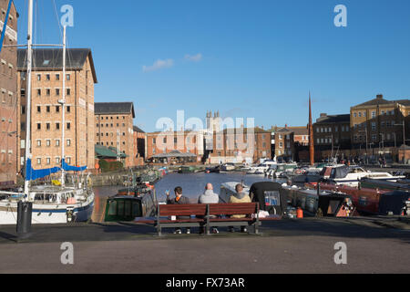 Victoria Basin at Gloucester docks in England - Stock Photo