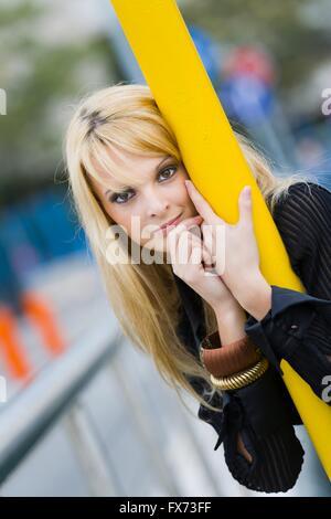 Blonde eye eyes contact eyeshot - Stock Photo
