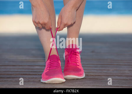 running sports shoes, trainers  or sneakers - Stock Photo