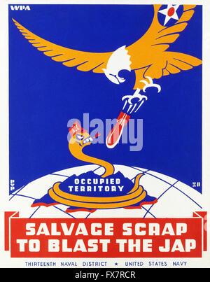 Salvage Scrap To Blast the Jap - World War II - U.S propaganda Poster - Stock Photo