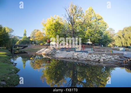 Bright Splash Park early on a cool autumn morning in Bright, Victoria, Australia - Stock Photo