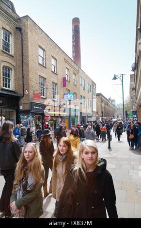 People walking, Brick Lane, London East End, London E1, UK - Stock Photo