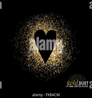 Gold Dust Love Vector. Heart shape in gold foil dust. Vector illustration. - Stock Photo