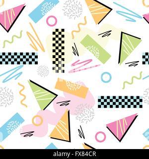 Eighties Seamless Pattern Vector. Classic light pastel 1980s seamless grid pattern. Vector illustration. - Stock Photo