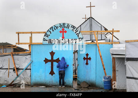 Ethiopian Orthodox Church in the so-called jungle refugee camp, Calais, France - Stock Photo