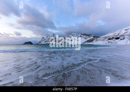 Haukland Beach in the Lofoten Islands, Norway in the winter at dusk. - Stock Photo