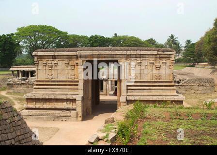 Entrance to the underground Shiva Temple, Hampi, Karnataka, India. - Stock Photo