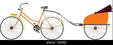 indian rickshaw vector illustration travel transportation pull by bicycle - Stock Photo