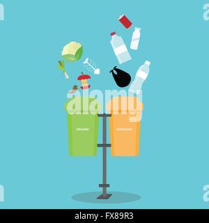 organic inorganic recycle garbage bin separation segregate  separate bottle degradable waste trash - Stock Photo