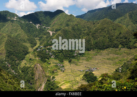 Batad rice terraces  in Banaue, Ifuego , Philippines.  Batad is situated among the Ifugao rice terraces. It is perhaps - Stock Photo