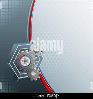 Abstract design template for industry/technology with micro chip inside circular device attached to a 3d gears - Stock Photo