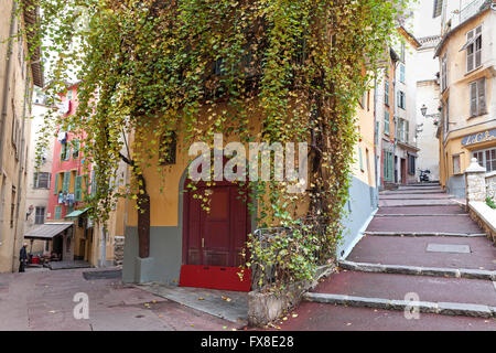 Nice Old Town, Vieille Ville,  showing colourful houses and steps -  Cote d'Azur, Provence, France - Stock Photo