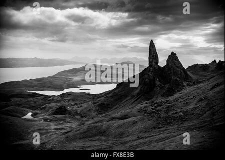 The Old Man of Storr- Isle Of Skye. Dramatic black and white landscape photograph. - Stock Photo