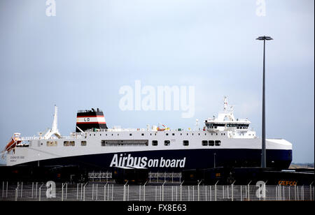 Cuidad de Cadiz ship 'Airbus on board ' Saint-Nazaire Loire-Atlantique France - Stock Photo