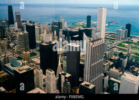 Chicago, Illinois, USA, 1st May, 1985 Chicago looking east from the Willis Tower towards Lake Michigan. Credit: - Stock Photo