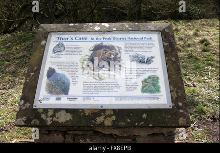 Thors Cave Information Board in the Staffordshire Peak District National park - Stock Photo