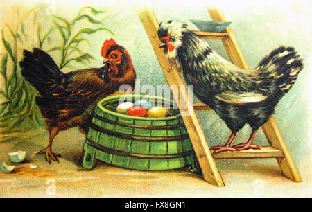 Postcard printed in the Germany shows Hen and a rooster near the nests with colored eggs, circa 1910 - Stock Photo