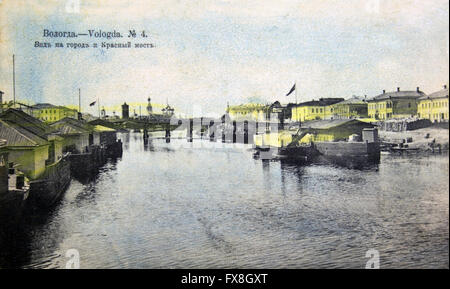 Postcard printed in Russia shows Vologda - View of the city and the Red Bridge, circa 1911 - Stock Photo