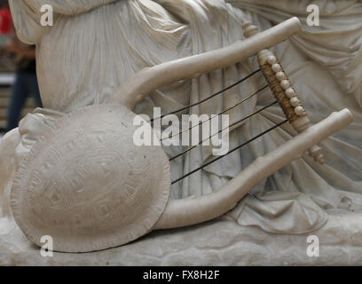 Poetess Sappho, 1852. Marble statue by James Pradier (1790-1852). Detail of lyre. Orsay Museum. Paris. France. - Stock Photo