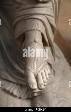 Poetess Sappho, 1852. Marble statue by James Pradier (1790-1852). Detail of sandal. Orsay Museum. Paris. France. - Stock Photo