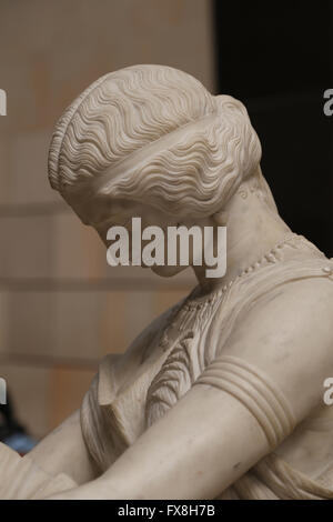 Poetess Sappho, 1852. Marble statue by James Pradier (1790-1852). Orsay Museum. Paris. France. - Stock Photo