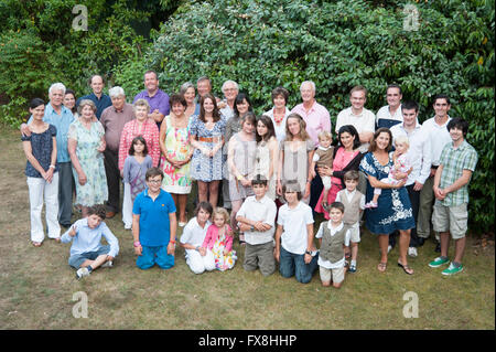 Large family group portrait of Caucasian family - Stock Photo