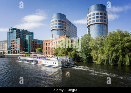 River Spree, Alt Moabit , Hotel Abion, Old Bolle Dairy, federal ministry of interior , Berlin, Germany - Stock Photo