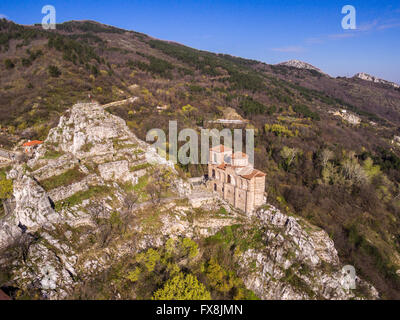 Areal veiw of the Asen's fortress and the Virgin Mary church near Asenovgrad city in Bulgaria. - Stock Photo