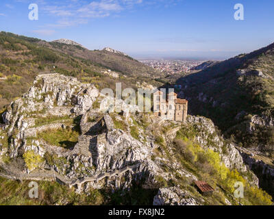 Areal veiw of the Asen's fortress and the Virgin Mary church with Asenovgrad city in the background. - Stock Photo