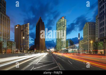 Potsdamer Platz,  Berlin , Kollhoff-Tower, Sony Center, DB Tower , Beisheim Center, S Bahn Entrance, Berlin Center, - Stock Photo
