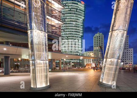 Potsdamer Platz, Heliobus Light Pipes,  DB Tower, Beisheim Center,   Berlin Center, Germany - Stock Photo