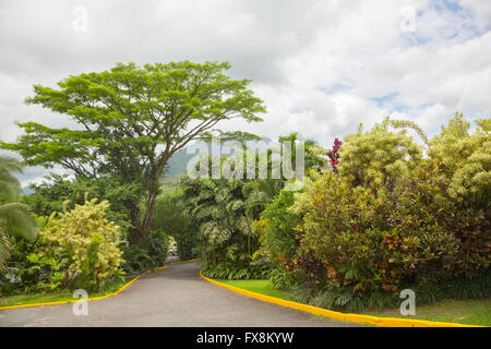 View of Arenal Volcano cone from La Fortuna place, Costa Rica - Stock Photo