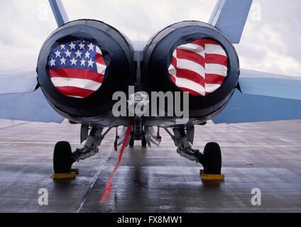 McDonnell Douglas F/A-18 Hornet twin-engine supersonic all-weather carrier-capable multirole combat jet airplane - Stock Photo