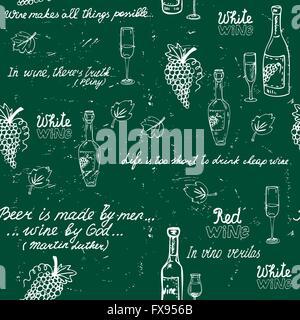 Seamless wine pattern chalkboard - Stock Photo