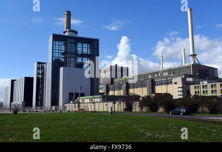 The construction of the steam and gas turbine power plant Lausward, block 'Fortuna' in Dusseldorf (North Rhine-Westphalia) - Stock Photo