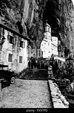 The Nazi propaganda image depicts the monastery Ostrog (today in Montenegro) after the capture of the German Gestapo - Stock Photo