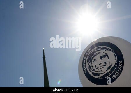 Moscow, Russia. 12th Apr, 2016. A balloon is set off with Yuri Gagarin's portrait to mark the 55th anniversary of - Stock Photo