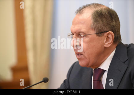 Moscow, Russia. 12th Apr, 2016. Russian Foreign Minister Sergey Lavrov speaks in a joint interview with the Chinese, - Stock Photo