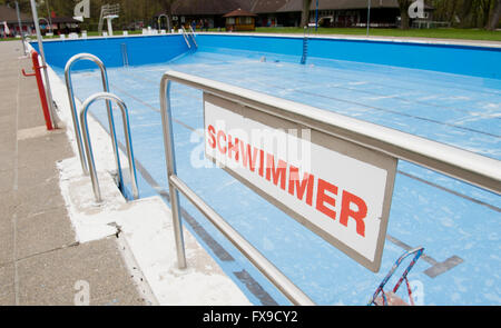 Hanover, Germany. 11th Apr, 2016. A sign written with 'swimmers' hangs at the Annabad swim club in Hanover, Germany, - Stock Photo
