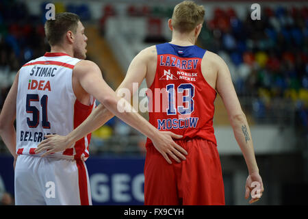 (160413) -- Ivan Lazarev (R) of CSKA and Vladimir Stimac of Crvena Zvezda greet each other during Euroleague Basketball - Stock Photo