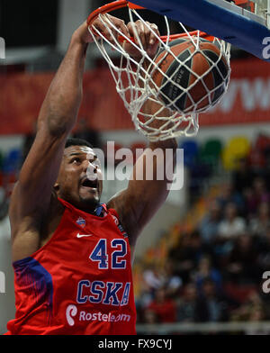 (160413) -- Kyle Hines of CSKA scores during Euroleague Basketball playoff Game 1 between Russia's CSKA Moscow and - Stock Photo
