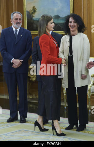Madrid, Madrid, Spain. 13th Apr, 2016. Queen Letizia of Spain attended an Audience to the Board of the Association - Stock Photo