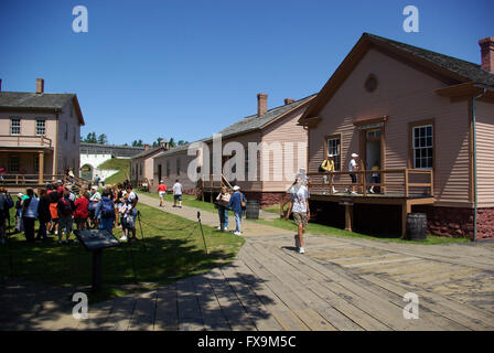People visiting Mackinaw fort on Mackinaw Island - Stock Photo