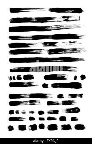 Various Black Paint Brush Strokes Isolated on White Background. - Stock Photo