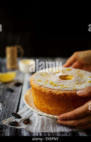 Fluffy and gluten free sponge cake, flavored with lemon and tonka bean - Stock Photo