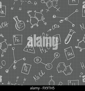 Chemistry doodles seamless pattern - Stock Photo