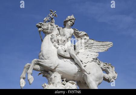 Mercury riding Pegasus,1701-02 by Antoine Coysevox (1640-1720). Paris. France. - Stock Photo